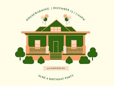 Housewarming House Party windows home tree banner bushes shrubs balloons birthday housewarming house party