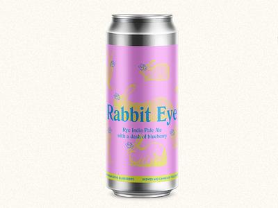 Rabbit Eye Beer Label bunny pink inda pale ale ipa blueberry neon illustration rabbit beer label beer