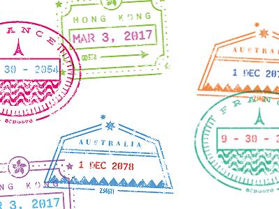 Stamp Design Take 2 date australia passport france hong kong travel stamps
