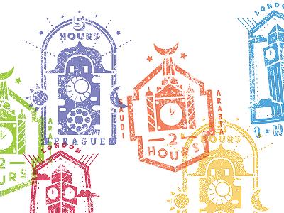 Stamp Design saudi arabia passport achievement time clock prague london travel stamps