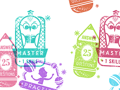 Stamp Design Take 3 badge achievement stamp student answer master owl pencil book juggling