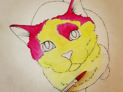 Bibble the cat adding color