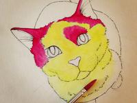 Bibble the cat adding color