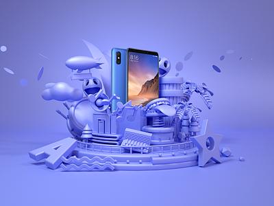 MI Mobile advertising mi 3d render