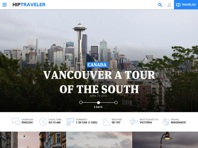 Hiptravler design gui ux ui naviagation overview article web app web design webiste blogger lat