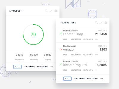Dashboard widgets design gui ux ui naviagation overview widget web app web design bank
