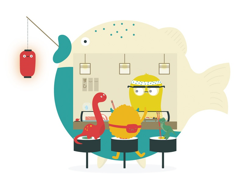 Chef illustration monster character japanese