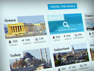Travel Destinations flat travel countries grid bootstrap