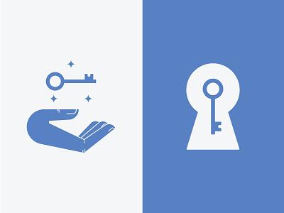 Key to the unknown branding brand logo design mark illustration key hole keys concept logo mystery lock door unknown hand key