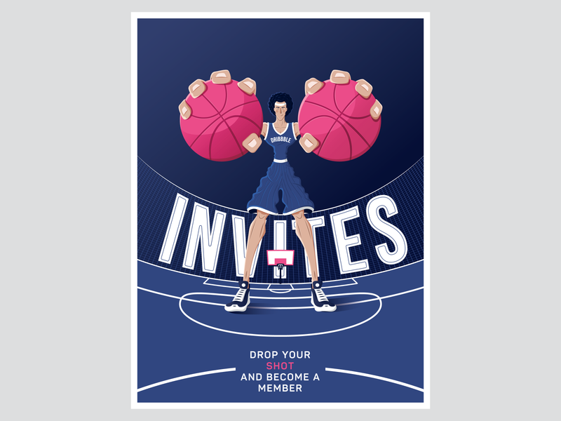 Two invites for dribbble typography vector design vector drawing invitation invite sport basketball illustration player poster card invitation card invitation design dribbble invite invites