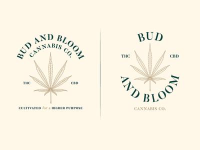 Bud and Bloom cbd oil cbd thc cannabis club club cannabis leaf sativa hemp cannabis design cannabis branding brand logo