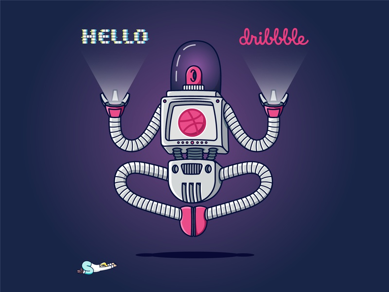 Hello Dribbble android cosmos concept ball robotic thankful thank you hologram dribbble ball dribbble hello atom robot charachter vector astronaut typography space illustration debut