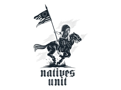 Natives Unit run illustration wild america usa flag horse scouting scout american flag indian warrior logo native native american