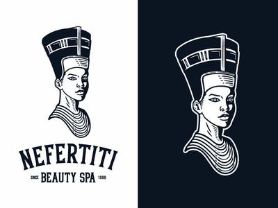 Nefertiti Queen of Beauty font text costum font egypt beautiful girl egyptian head branding spa portait girl illustration cleopatra nefertiti beauty woman queen logo