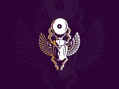 The Eye Of Ra ancient god insect wings scarab eye myth egypt illustration design logo