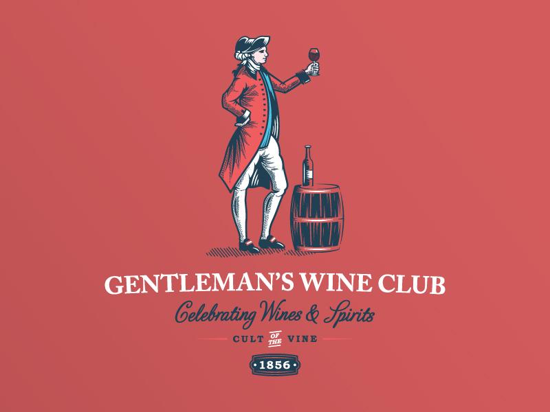 Gentleman's Wine Club label wine bar red wine bottle barrel drink spirits vine vintage illustration design logo wine
