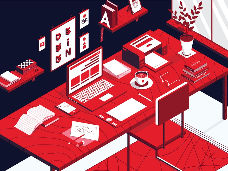 Isometric Illustration. My Home Working Space graphic  design graphic art work desk working space exercise illustation isometric design isometric art isometric