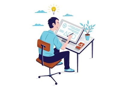Working At My Desk charachter design vector drawing desk working learning studying computer isometric isometric design isometric art idea charachter design illustrator illustration