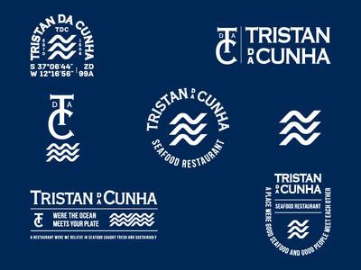 Tristan Da Cunha Badges dribbble movement sea ocean restaurants vector brand identity water waves typography badge setup collection badge logo logo brand restaurant branding seafood