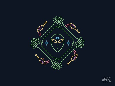 Alien Brotherhood illustrator face badge logo badge glow neon raygun brothers hands space ufo