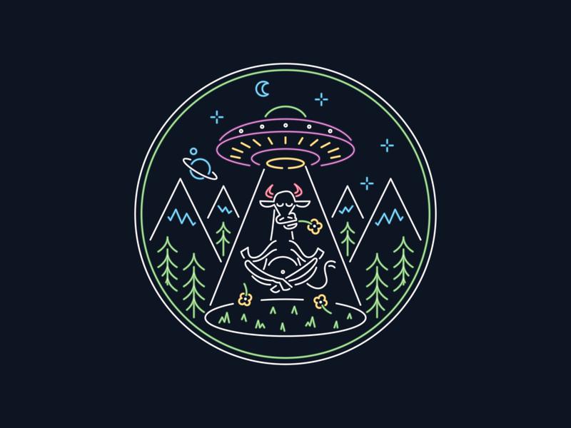 Meditation Elevation meditation yoga pose yoga glowing neon light neon illustrator space abduction cow logo badge ufo