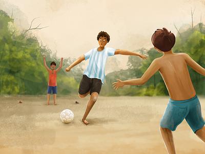 S H O O T ! soccer goal happy kids street sports football children procreate nostalgic nostalgia memories childhood art creative illustration design