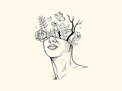 Mindless life flowers head digital ink procreate illustration creative artist 2019 inktober sketch art mindless mind