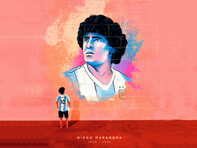 R.I.P Maradona tribute graffiti wall art illustration idol sports player icon soccer football legend maradona