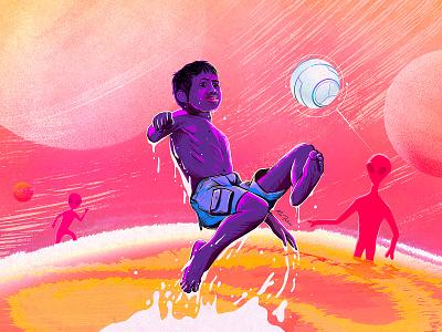 P L A Y artist color bright fusion soccer shot concept space alien future kid sports football procreate creative art illustration