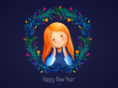 Happy New Year 2019 doodle banner creative cute art procreate girl illustration flowers simple cute smile new year eve new year girl 2019 happy new