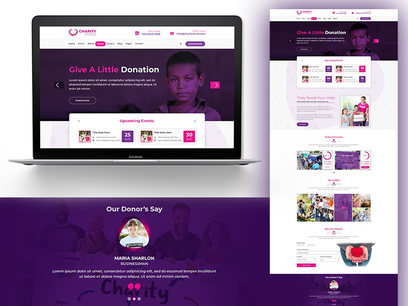 Charity Website Landing Page helping men help crisis donor donate charitable education donation charity