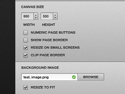 Canvas size ui checkbox web app button modal counter