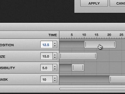 Animation timeline ui animation timeline slider scrollbar web app mask time drag position click size visibility button counter