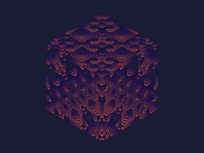 Hexahedron hallucinogen illustration cube gradient entheogen pattern psychedelic sacred geometry