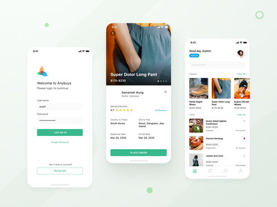 Anybuys - Personal Buyer Assistance page detail android clean thumbnail dashboard ios product sell buy app abroad assistance buyer personal mobile design ui design ux ui