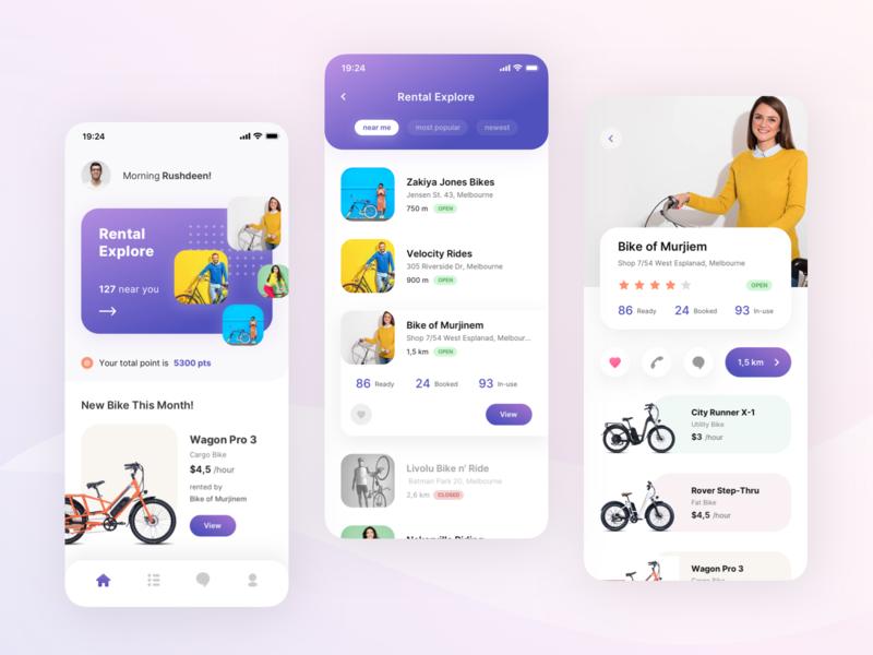 Bicycle Bike Rental Mobile App Exploration view list portfolio road rental app bicycle bike screen detail search android ios card dashboard clean mobile app ux design ui design aveef agensip
