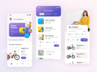 Bicycle Bike Rental Mobile App Exploration view list portfolio road rental app bicycle bike screen detail search android ios card dashboard clean mobile app ux design ui design aveef agensip