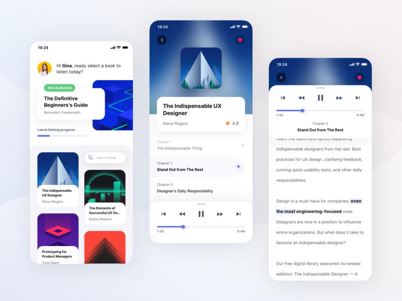 Audio Book Player App Exploration listening reader text player book audio portfolio screen detail search android ios card dashboard clean mobile app ux design ui design aveef agensip