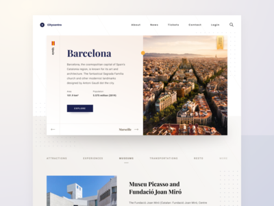 World City Website Landing Page catalunya barcelona museumwebsite landingpage websiteux websiteui citywebsite uitrend userinterface webdesign userexperience uxdesign uiux designprocess uxprocess dailydesign dailyui uidesign agensip