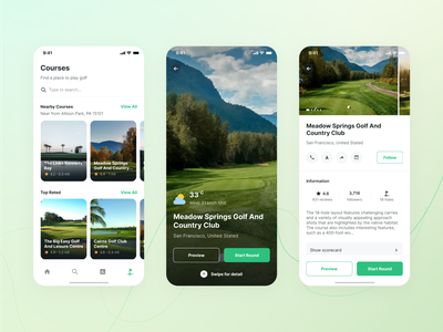 Holeswing - Golf Courses List and Detail ios mobile app mobile ui uxdesign uidesign country club places nearby round scoring golf golf club mobilegolf sportsapp golfrange golfcourse golfapp mobile clean app