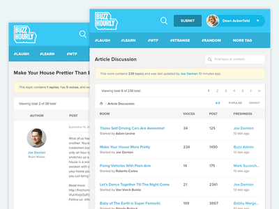 BuzzHourly Forum Page post topic design ui discussion page web forum bulletin