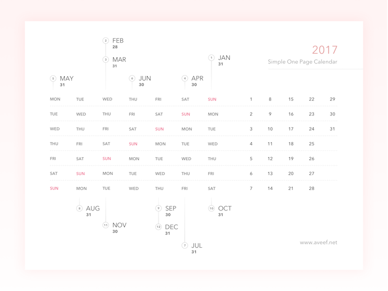 Freebies - 2017 Simple One Page Calendar exploration week month date freebies idea calendar simple happy 2017 year new