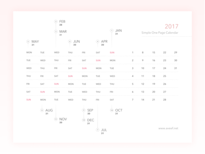 Freebies - 2017 Simple One Page Calendar