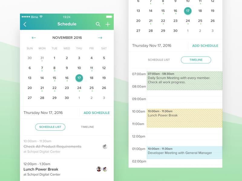 Schedule on app