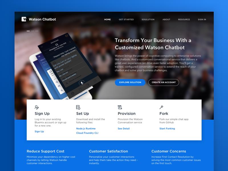 Watson Chatbot Marketing Landing Page by Afif Bimantara on Dribbble