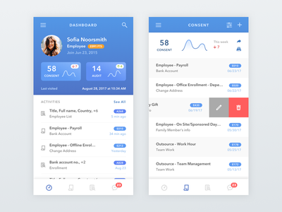 Employee Staff Administrative App activity graph stat list blue ui staff company worker track mobile dashboard