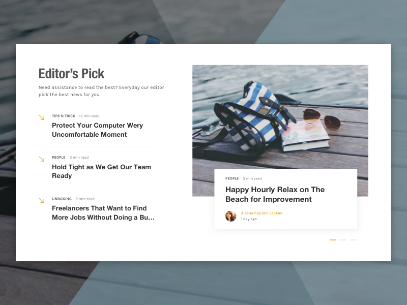 Editor's Pick Section on News Website pick editor article image slider card list concept ux ui magazine news