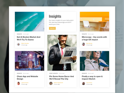 Insights Section on News Website thumbnail insights article image slider card concept ux ui magazine news