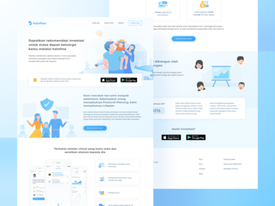 Halofina Landing Page ui blue ios android mobile indonesia startup app finance illustration page landing