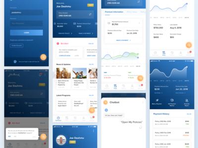 Insurance Program Mobile App chatbot switch icon profile option data ux ui minimal clean blue menu thumbnail line stats graph app insurance mobile